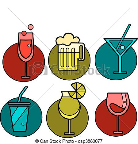 Vector Illustration of Set of six drink icon variations.