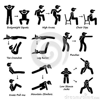 Body Workout Exercise Fitness Training (Set 1) Clipart Stock.