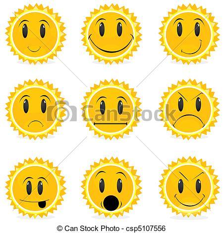 Clip Art Vector of variations in moods.