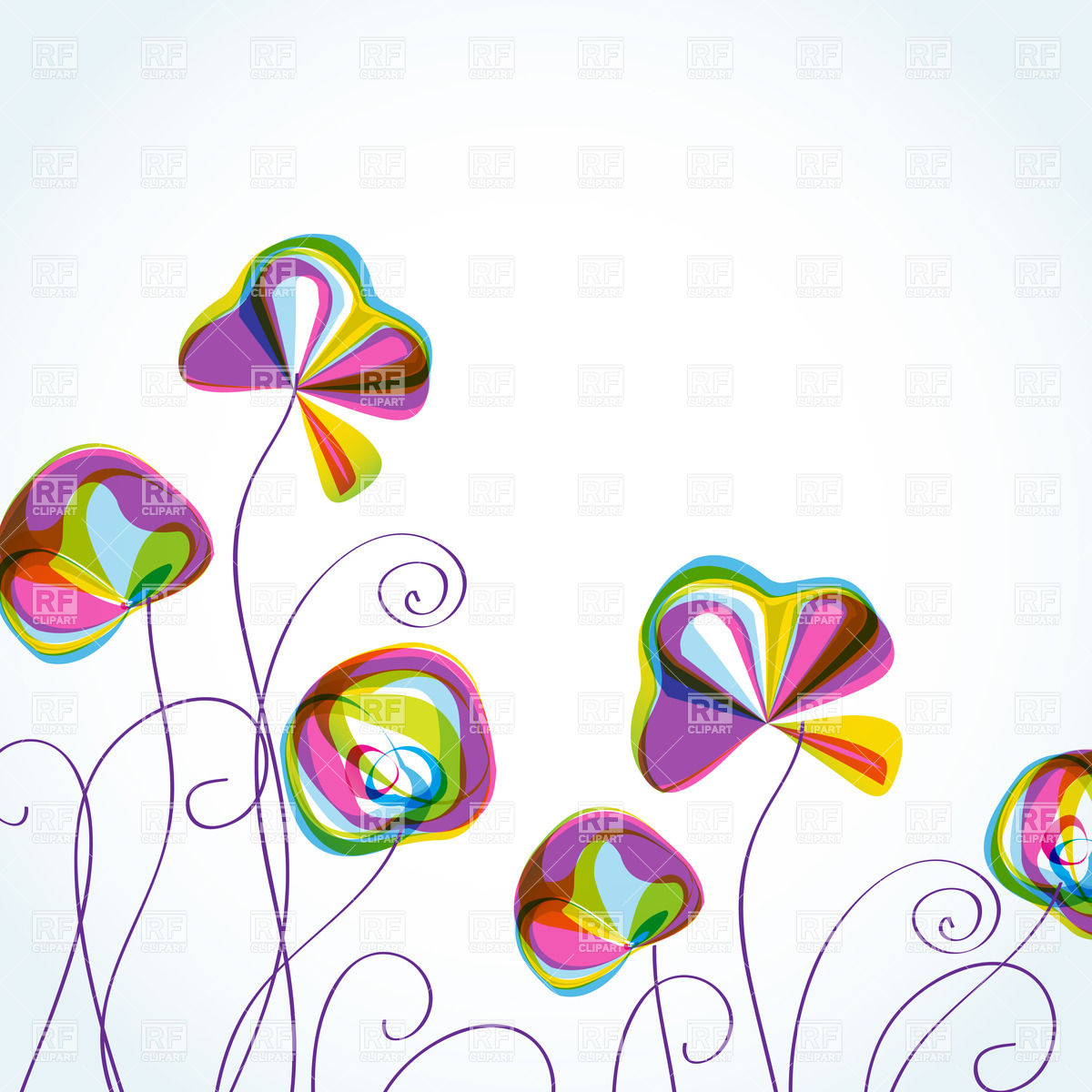 Stylized variegated flowers Vector Image #23735.