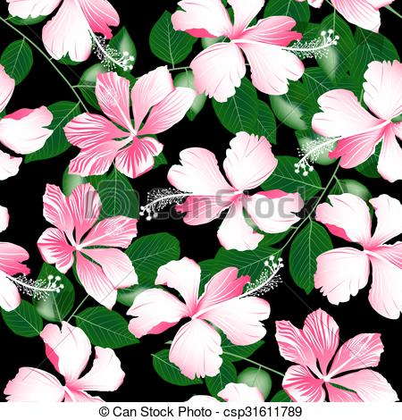 Vector of Variegated pink tropical hibiscus flowers seamless.