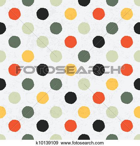 Clip Art of Seamless variegated polka dot pattern. Vector, EPS10.