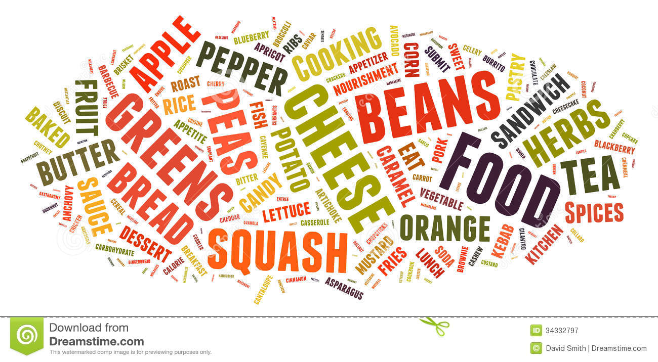 Word Cloud Showing Words Dealing With Food Royalty Free Stock.