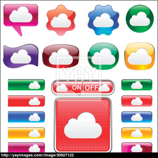 set of variety of colors Cloud icon button and tab vector.