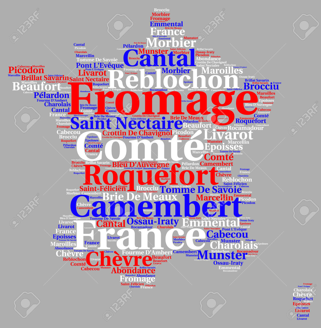 Variety Of French Cheeses Word Cloud Illustration Stock Photo.