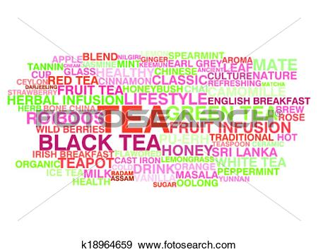 Clip Art of Tea variety. Word cloud concept k18964659.