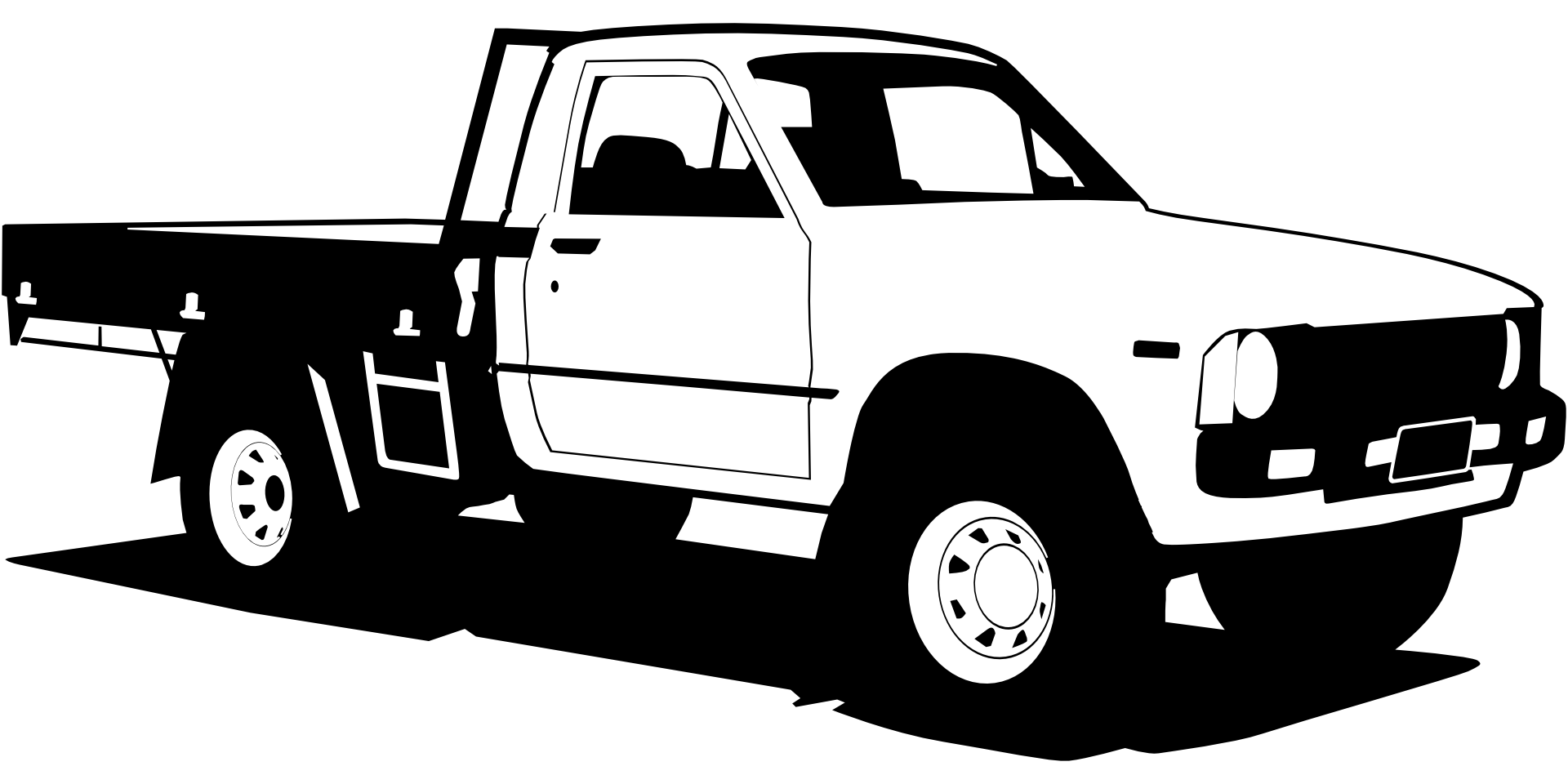 Black and white pickup truck clipart free image.