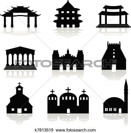 Clip Art of various temple and church illustrat k7813519.