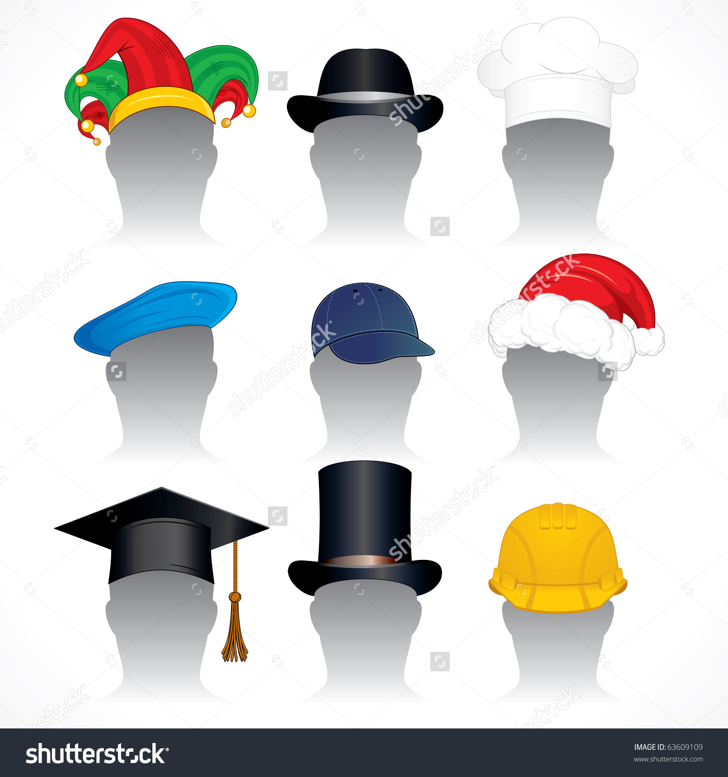 Hats Caps Clip Art Collection Detailed Stock Vector 63609109.