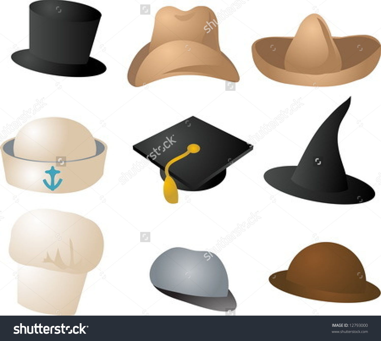 Various Hats Illustration Clipart Icons Color Set.