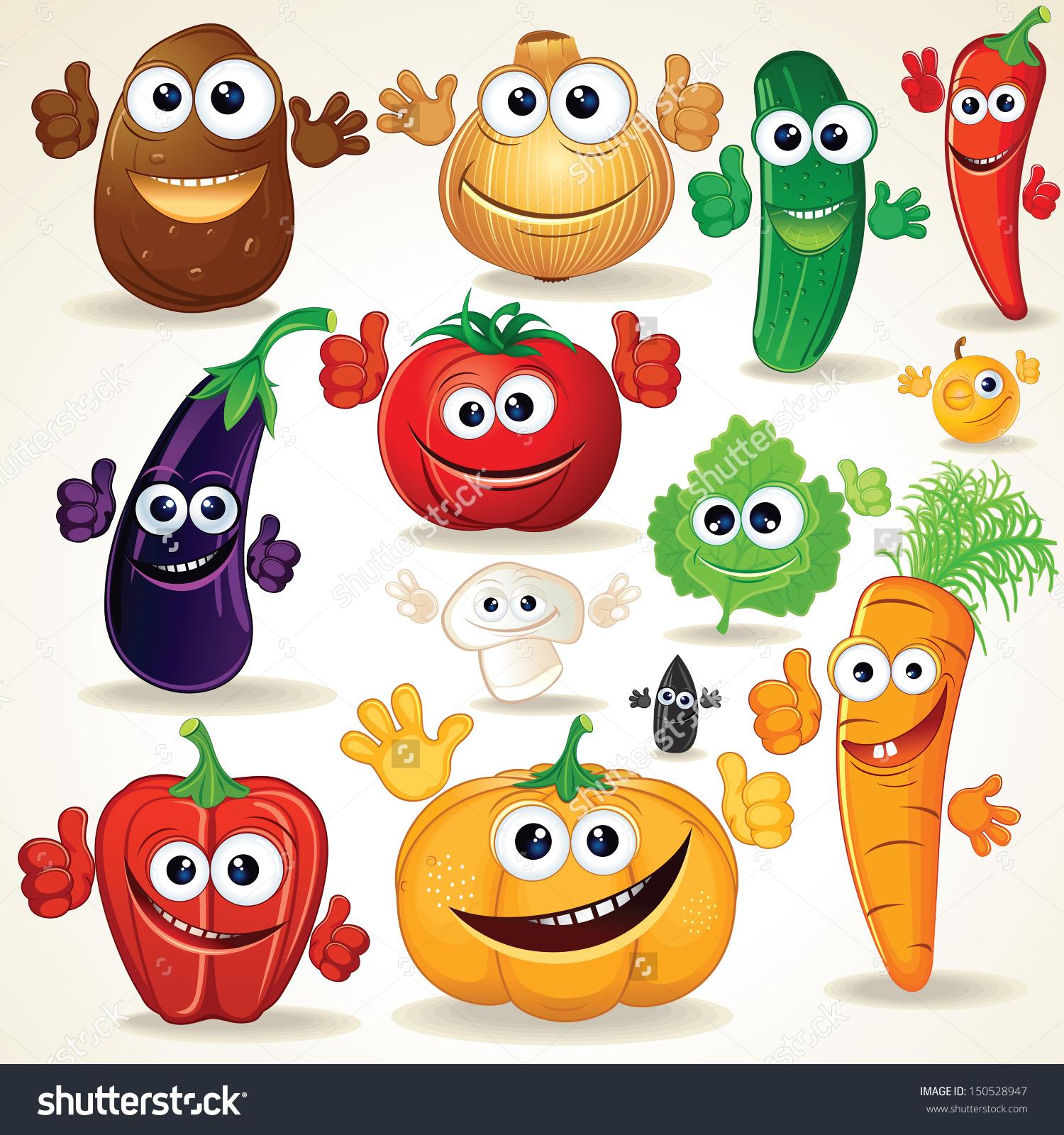 Funny Various Cartoon Vegetables Vector Clip Stock Vector.