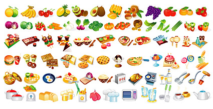 The various types of food elements in, Clip Art.