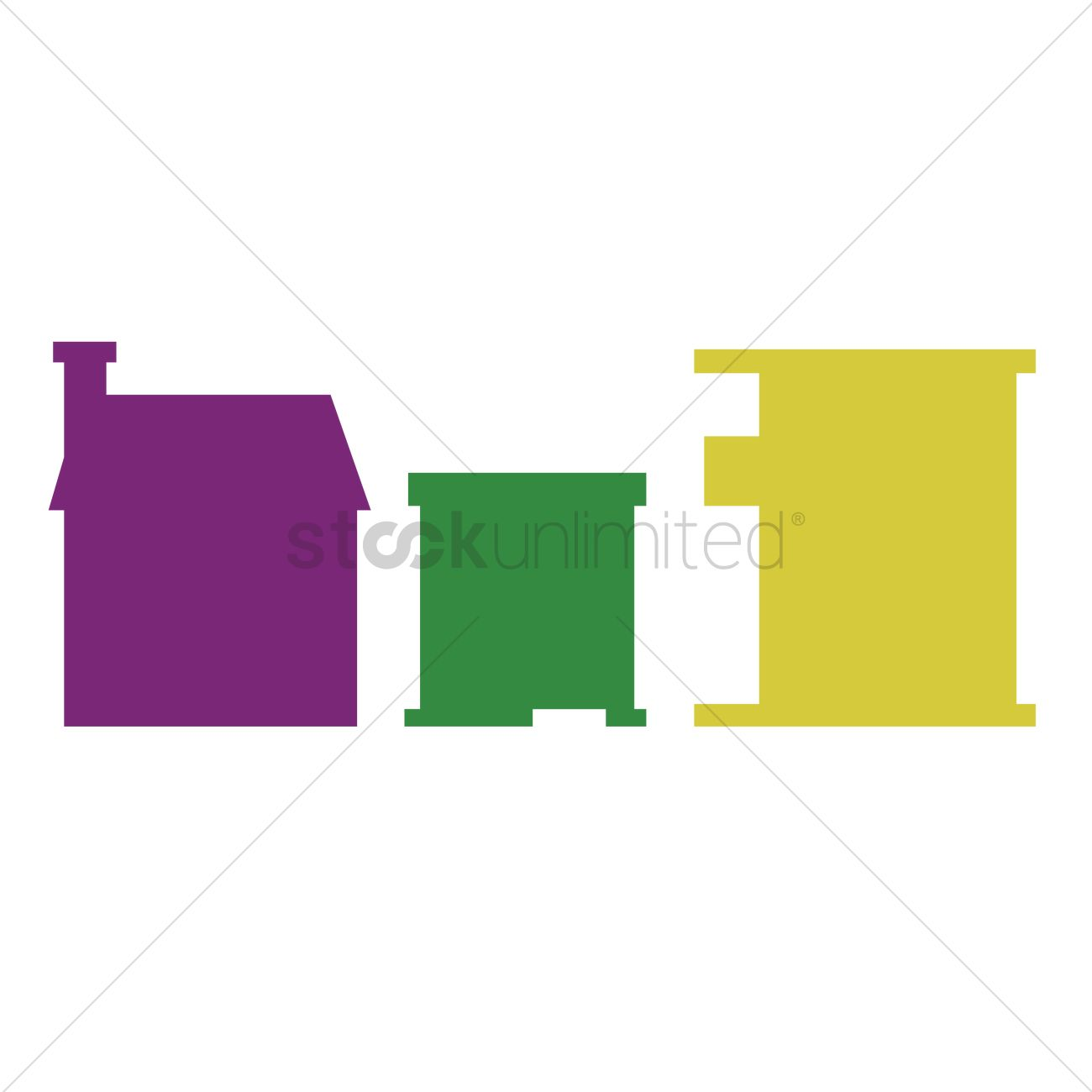 Free Various types of buildings Vector Image.