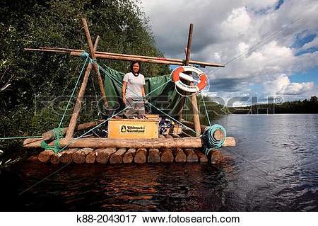 Picture of Timber rafting on Klar Alven. Varmland, Sweden. k88.