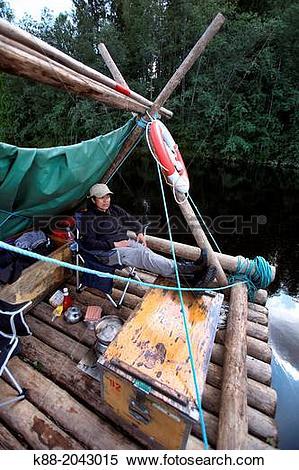 Stock Image of Timber rafting on Klar Alven. Varmland, Sweden. k88.