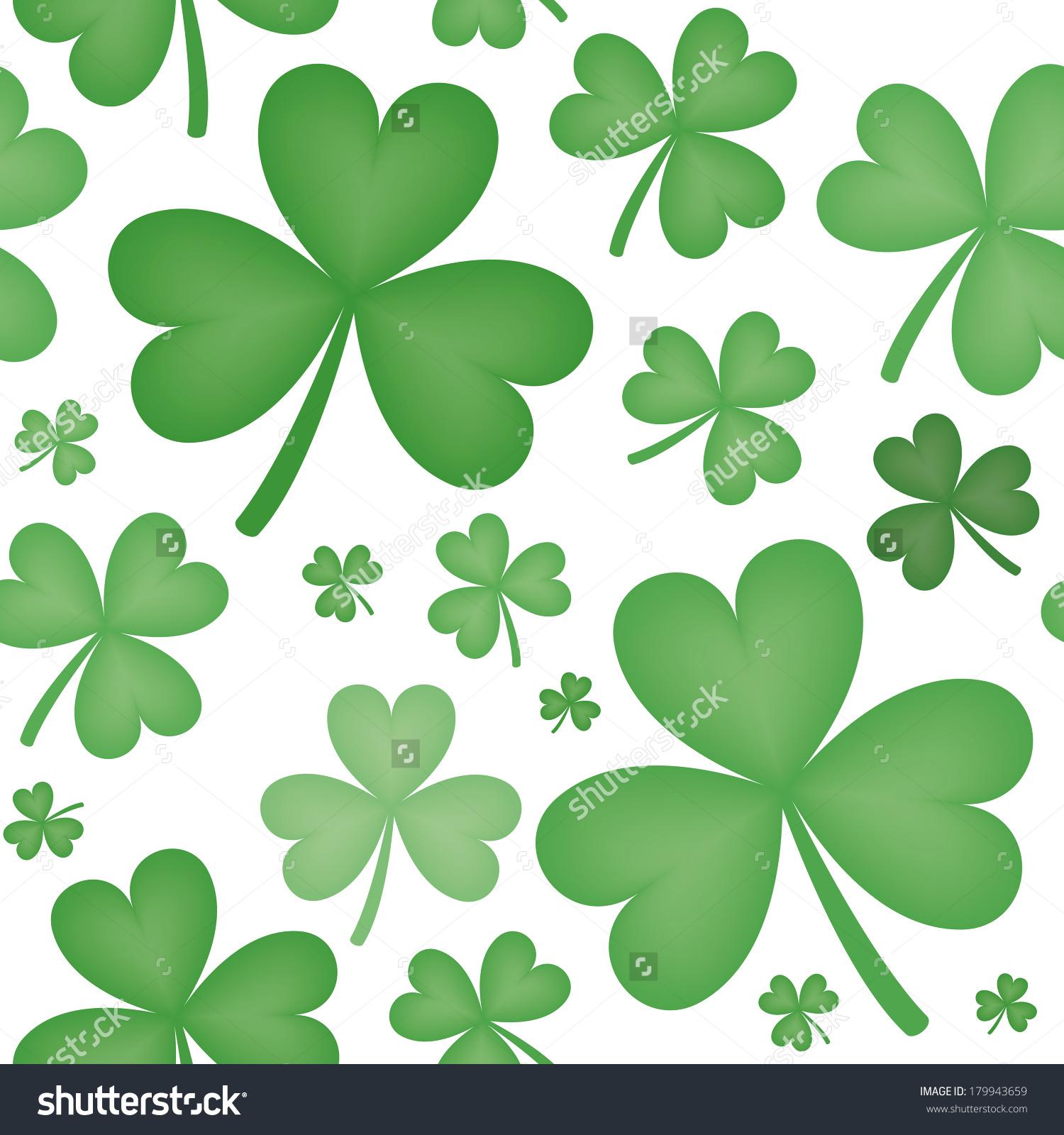 Seamless Pattern Green Shamrock Shapes Varying Stock Illustration.