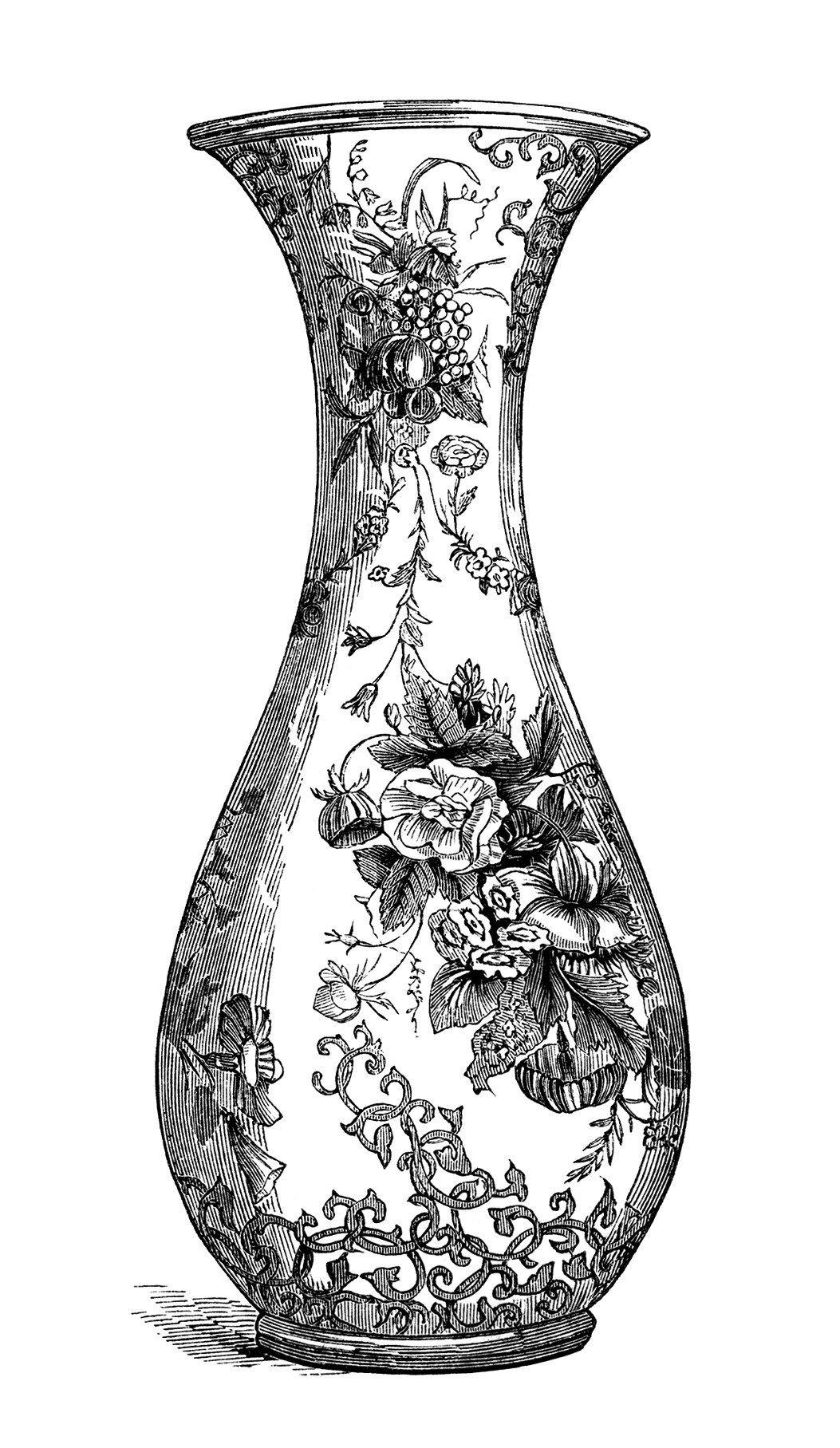 black and white clip art, free vintage image, floral vase.
