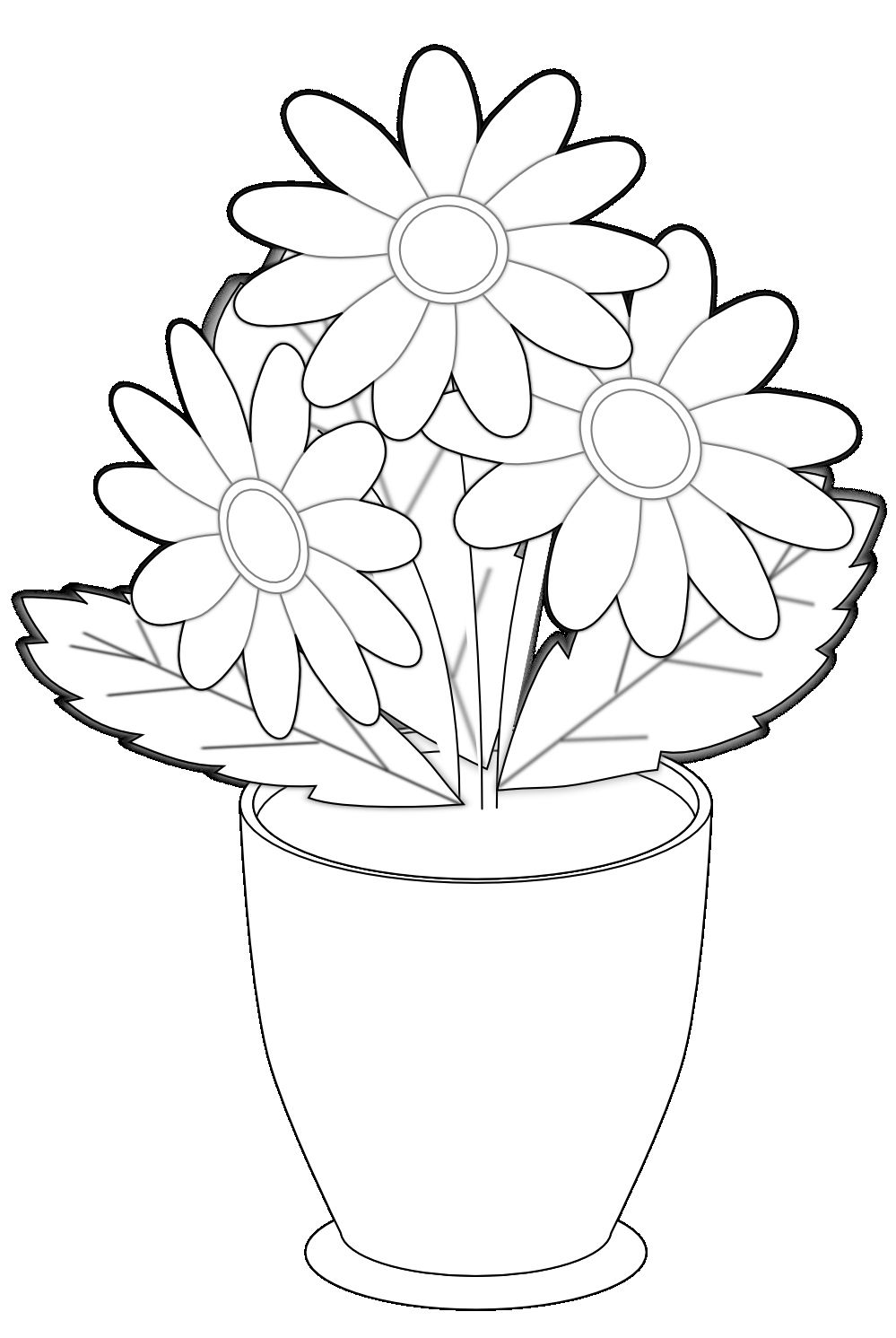 30 Lovely Vase Of Flowers Clipart Black and White in 2019.