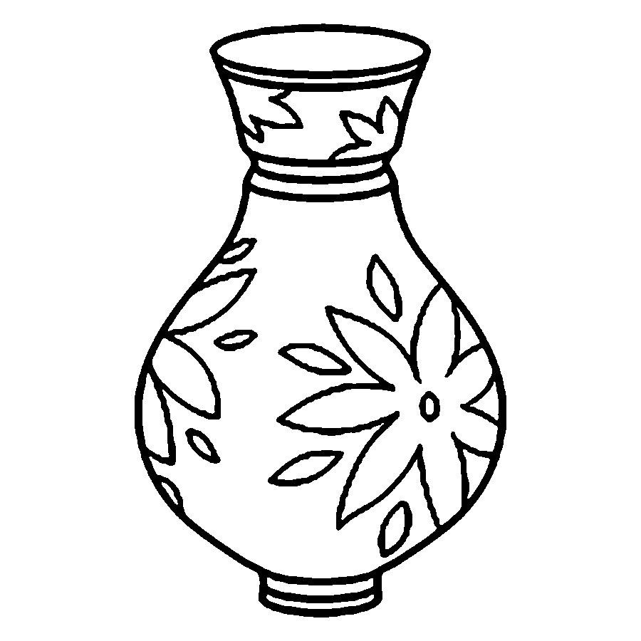 Clipart black and white flowers in a vase Luxury Vase.