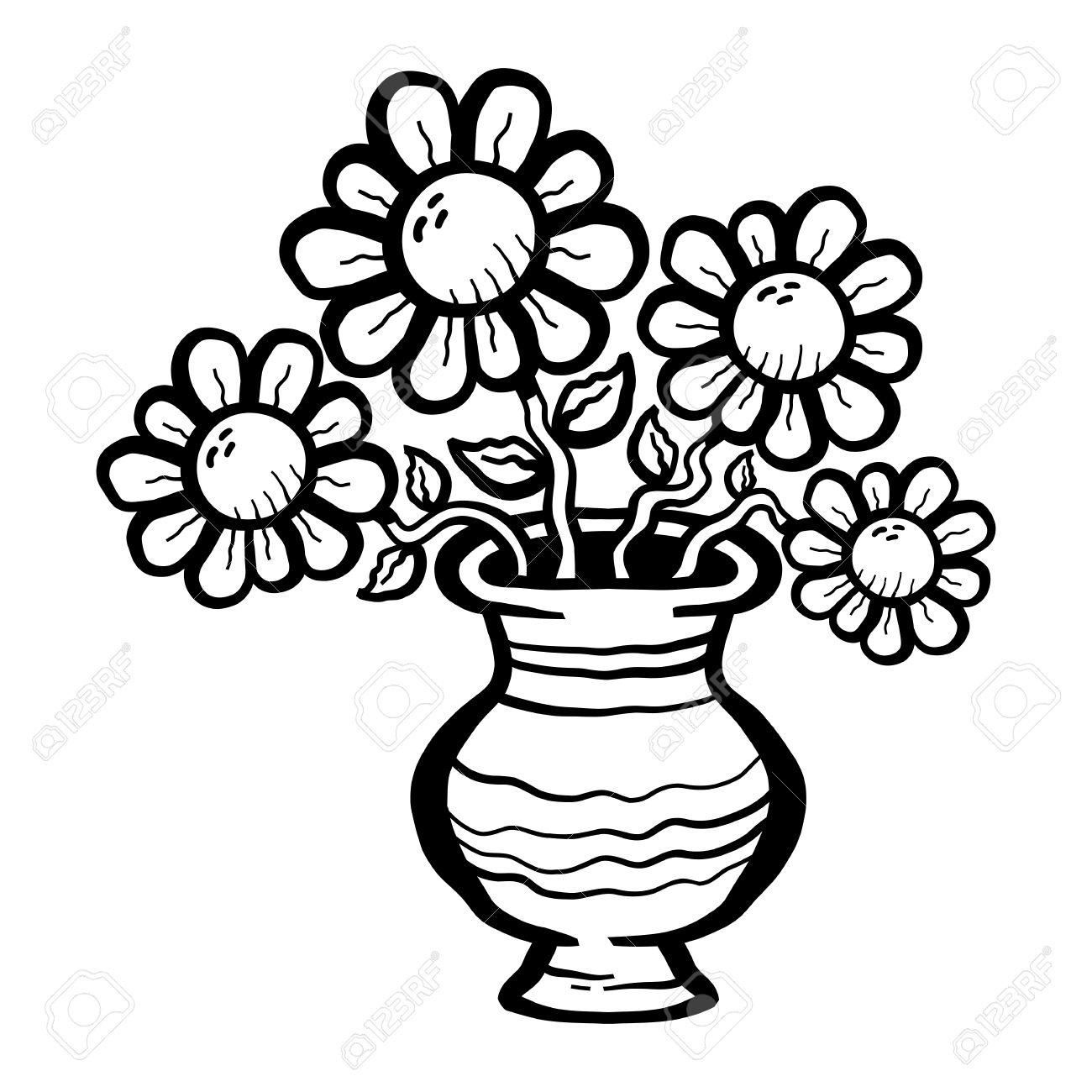 Flower vase clipart black and white Fresh Flower Vase.