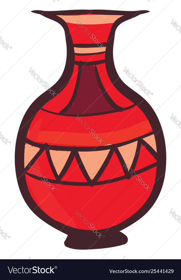 Clipart a red vasefloral pot set isolated on.