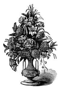 vintage flower clipart, free black and white clip art.
