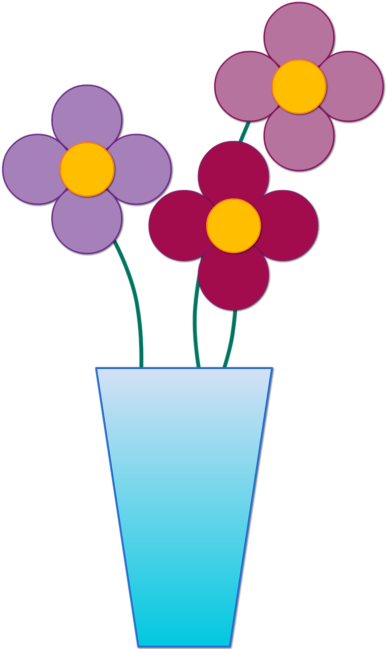 Vase With 3 Flowers Clipart.