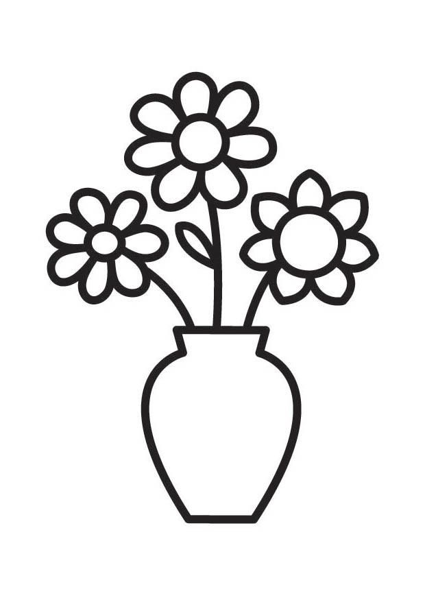 Coloring page Vase with.