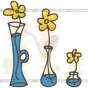 Flowers in vases. set.