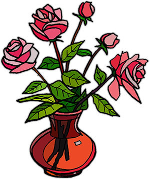 Vase Of Roses Clipart.