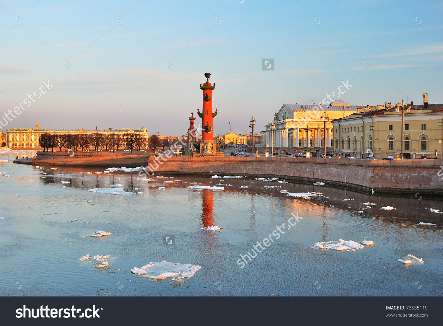 St. Petersburg. Vasilievsky Island Arrow And Neva River At Sunset.