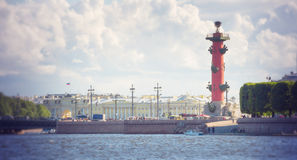 Spit Of Vasilievsky Island In St. Petersburg, Russia Stock Photo.