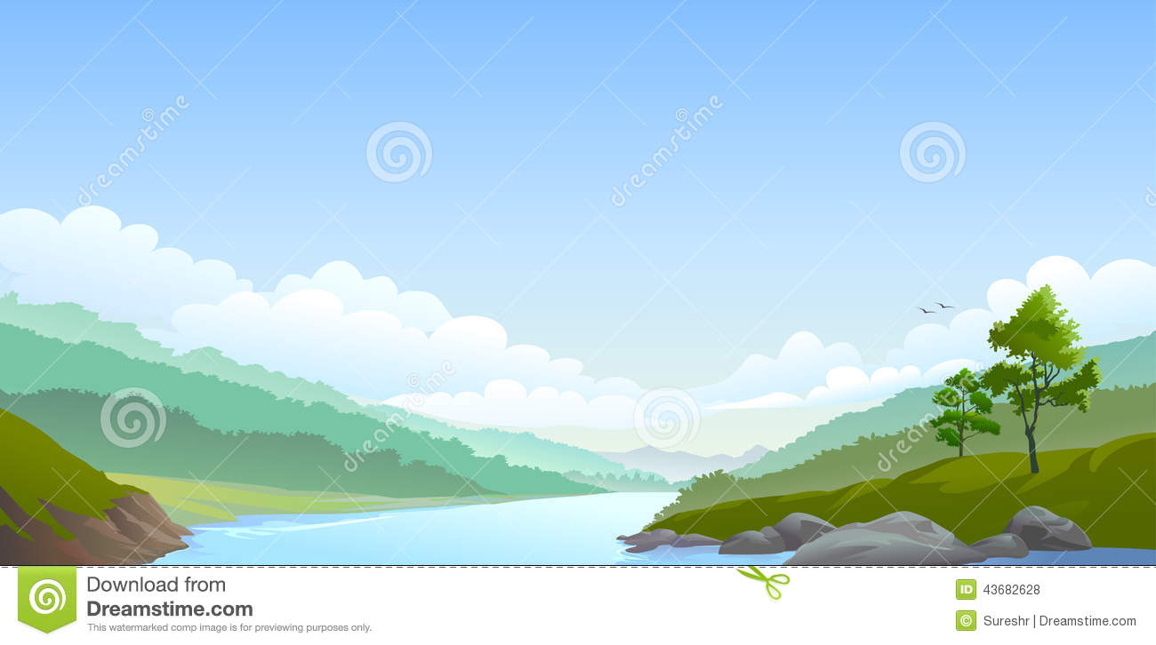 Country Side River,hills And Vast Blue Sky Stock Vector.