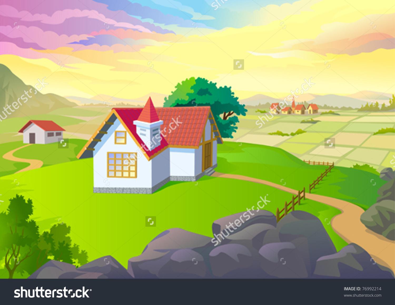 Beautiful Village Vast Fields Houses Spring Stock Vector 76992214.