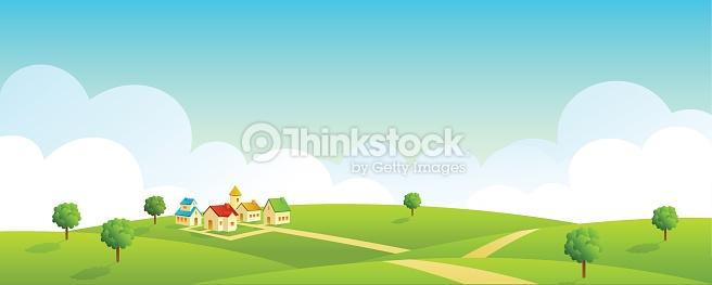 Illustration Of Vast Land Landscape Vector Art.