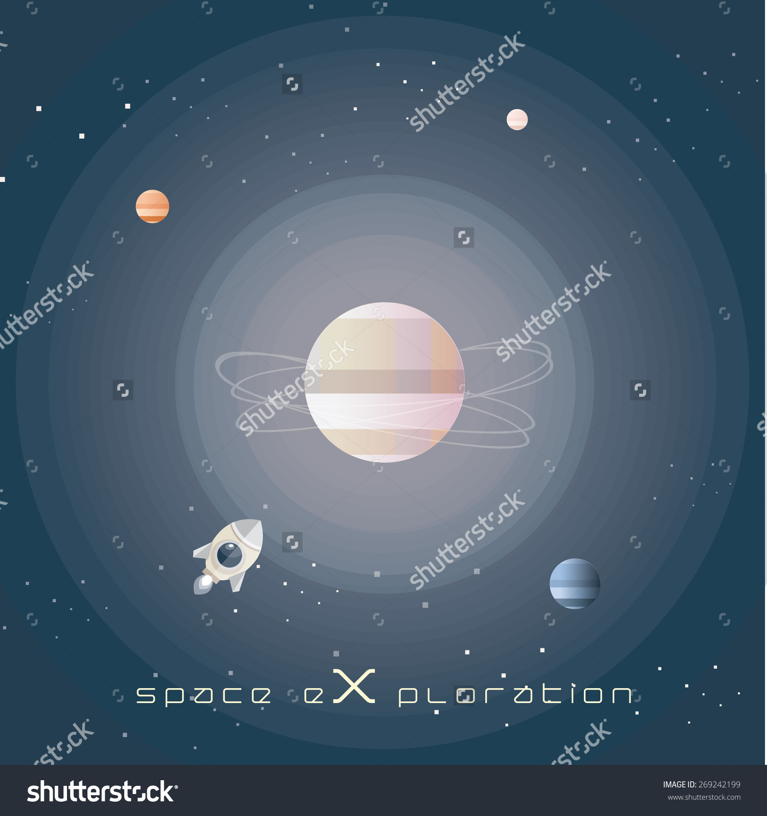 Space Exploration Abstract Vector Illustration Wallpaper Stock.