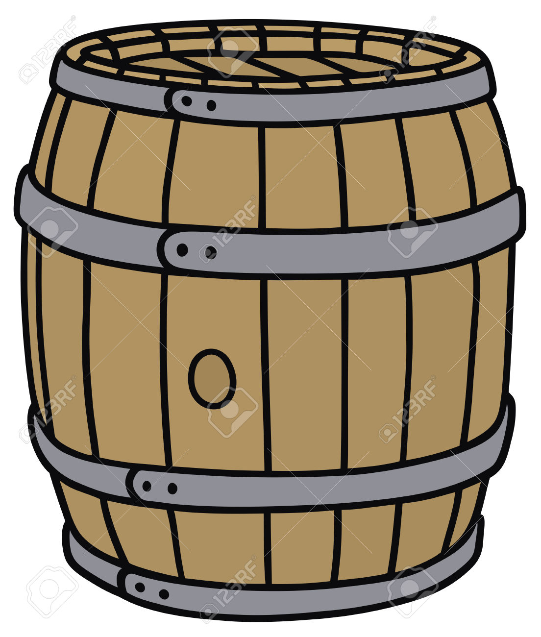 Hand Drawing Of A Classic Wooden Barrel Royalty Free Cliparts.