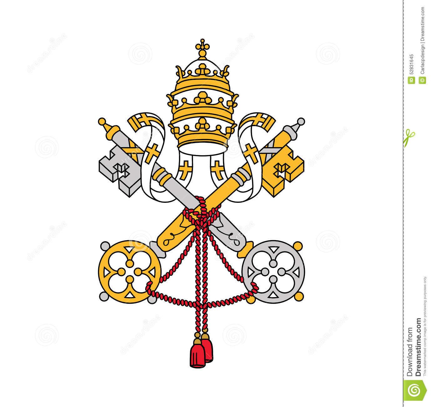 Symbol Of Vatican City, Vector Illustration. Stock Vector.