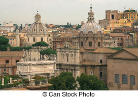 Stock Photo of view of Rome from Pincio hill at sunset with.