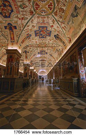 Stock Photo of Hallway of Library at The Vatican Museum Vatican.