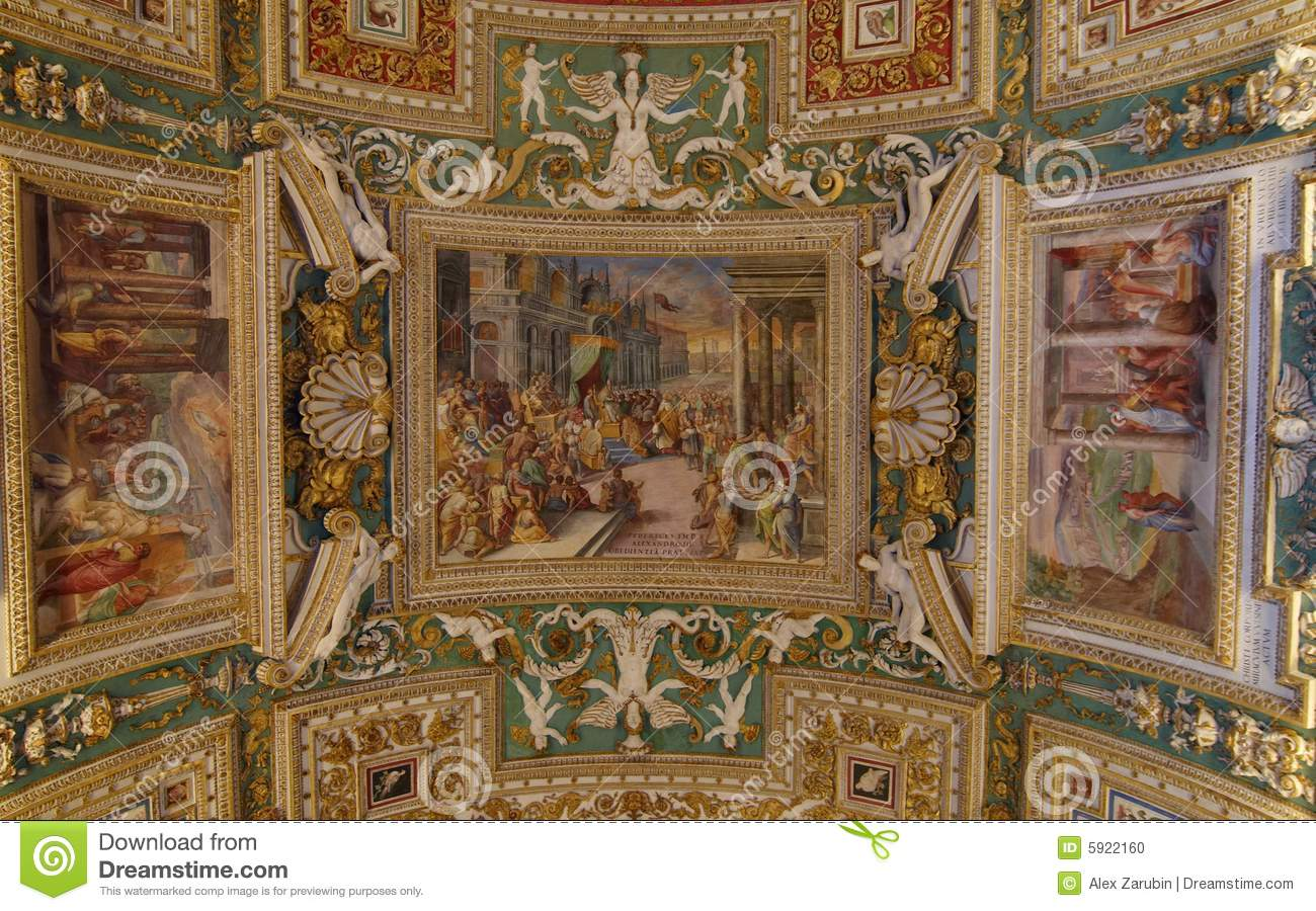 Fresco On The Ceiling In The Vatican Museums Royalty Free Stock.