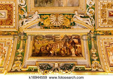Stock Photograph of Vatican museums, map room k16944559.