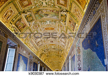 Picture of Gallery of the Geographical Maps in Vatican Museum.