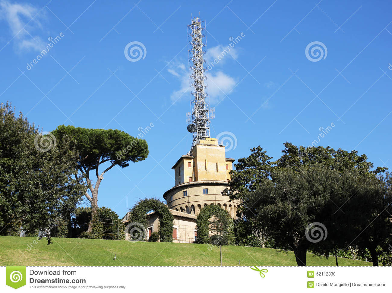 Vatican Radio Tower Stock Photo.