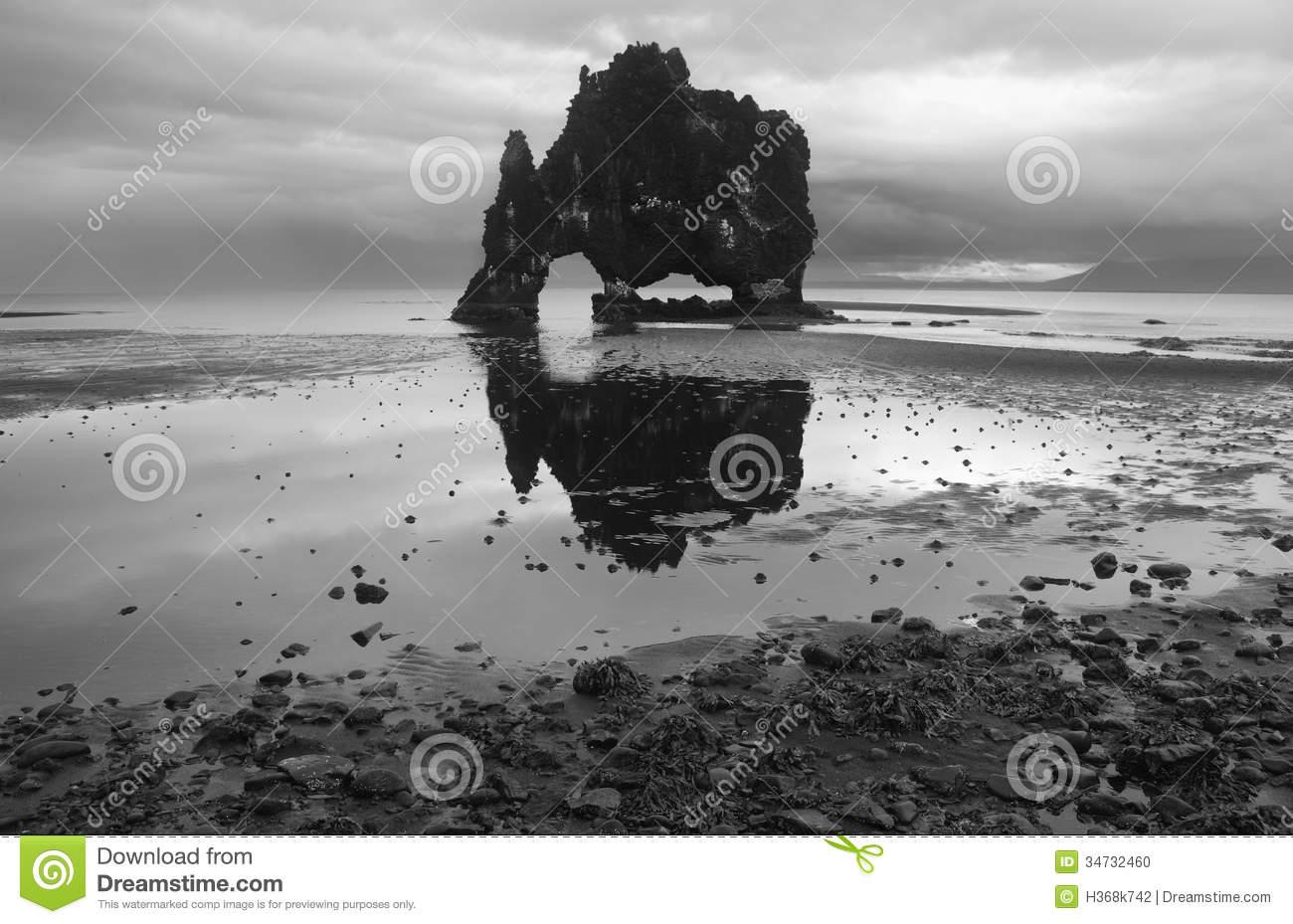 Iceland. Vatnsnes Peninsula. Hvitserkur Rock Monolith. Stock.