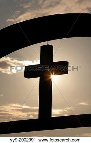 Stock Photography of Cross at Hvammstangi Church.