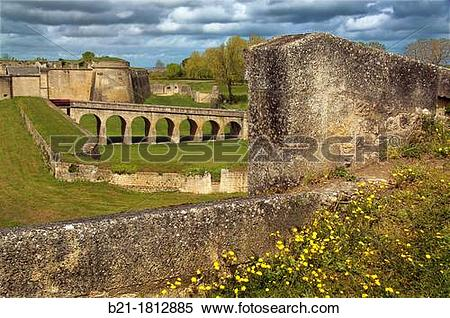 Stock Image of Citadel built by Vauban in the 17th century on the.