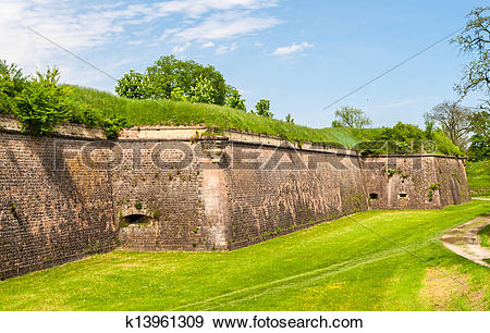 Stock Photograph of Moats and fortifications of Neuf.