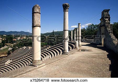 Pictures of Roman theater, Vaison la Romaine, Vaucluse, France.