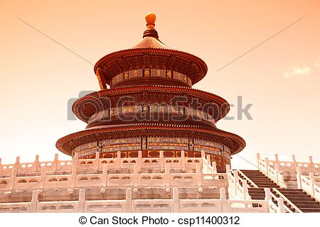 Stock Photography of Sunset of The Imperial Vault of Heaven sits.